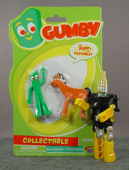 Gumby and Pokey bendable figures; Transformers Drill Dasher