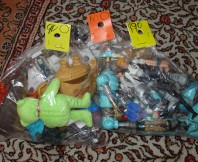 Three bags full... of thrift store toys.