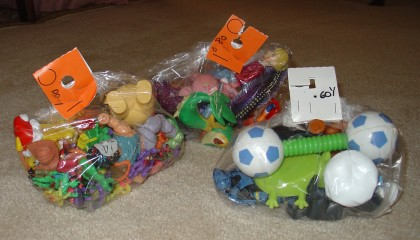 Bags of toys for Thrift Store Thursday #4!