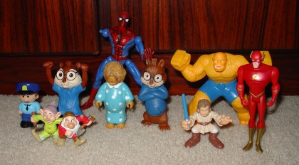 Various crappy figures and a one-armed Spider-Man