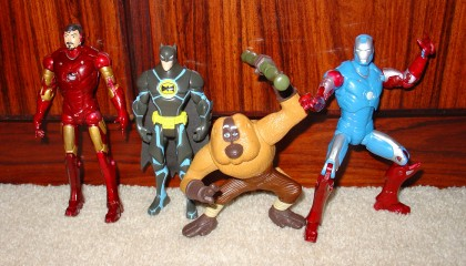 Two superarticulated Iron Men, the Batman, and a monkey.