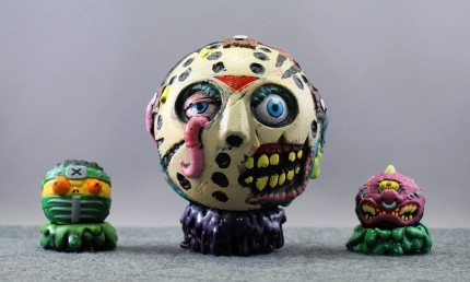 Jason with mini Sushisassin (Just Play) and Horn Head (Kidrobot)