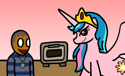 From the cutting room floor: Wes and pink Celestia!