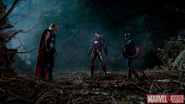 Thor (Chris Hemsworth), Iron Man (Robert Downey Jr.), and Captain America (Chris Evans) square... er, triangle off